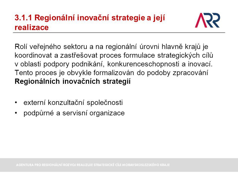 3.1.1 Regionální inovační strategie a její realizace Rolí veřejného sektoru a na regionální úrovni hlavně krajů je koordinovat a zastřešovat proces fo