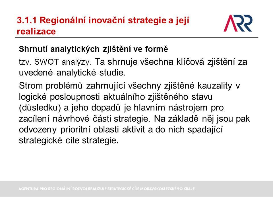 3.1.1 Regionální inovační strategie a její realizace Shrnutí analytických zjištění ve formě tzv. SWOT analýzy. Ta shrnuje všechna klíčová zjištění za
