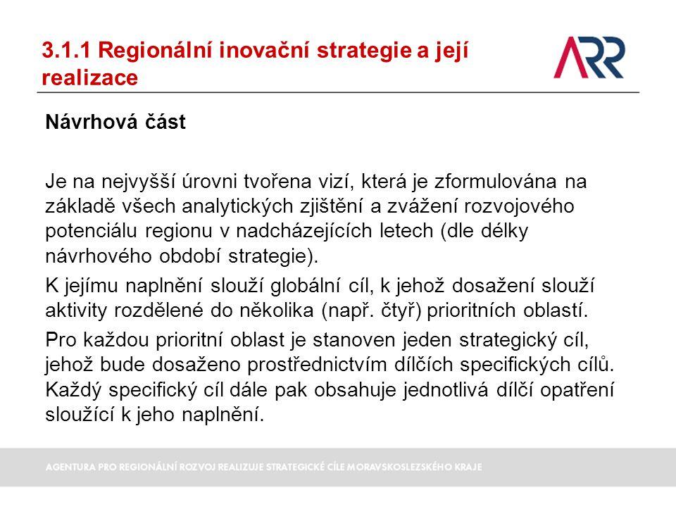3.1.1 Regionální inovační strategie a její realizace Návrhová část Je na nejvyšší úrovni tvořena vizí, která je zformulována na základě všech analytic