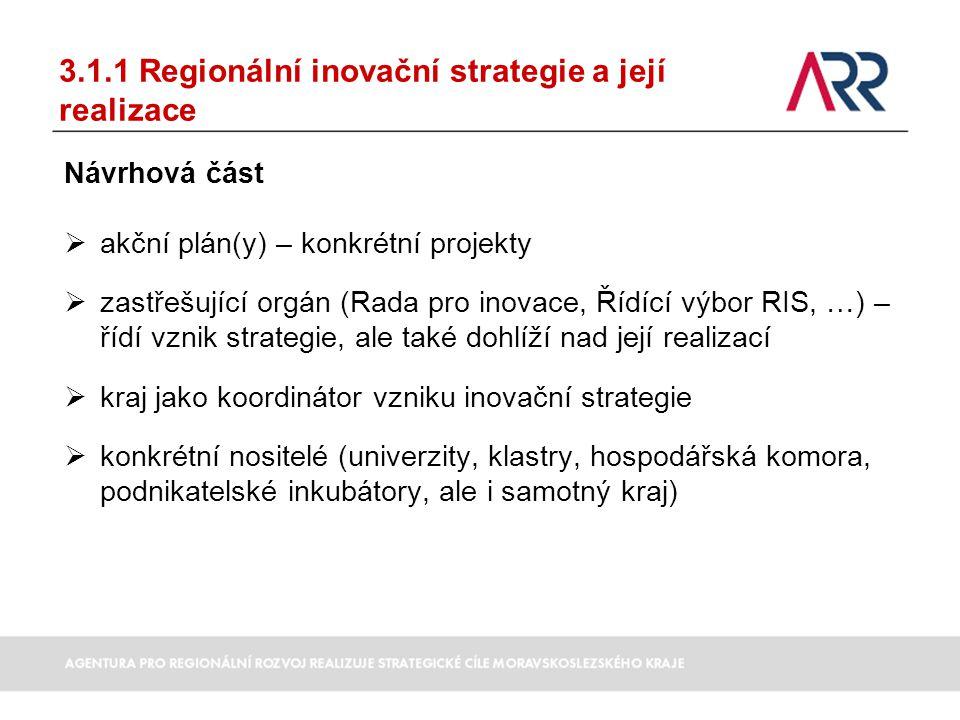 3.1.1 Regionální inovační strategie a její realizace Návrhová část  akční plán(y) – konkrétní projekty  zastřešující orgán (Rada pro inovace, Řídící