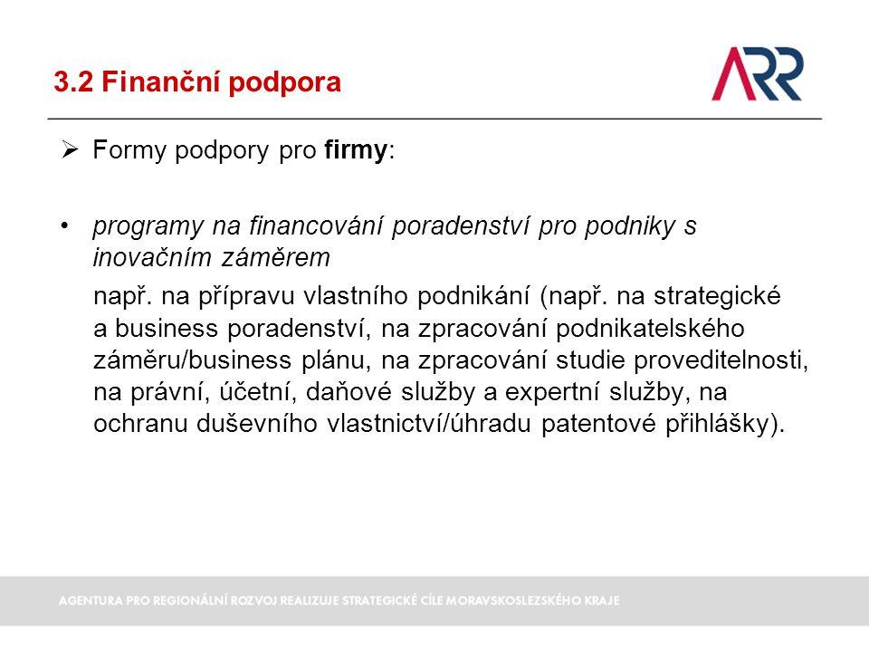 3.2 Finanční podpora  Formy podpory pro firmy: programy na financování poradenství pro podniky s inovačním záměrem např. na přípravu vlastního podnik
