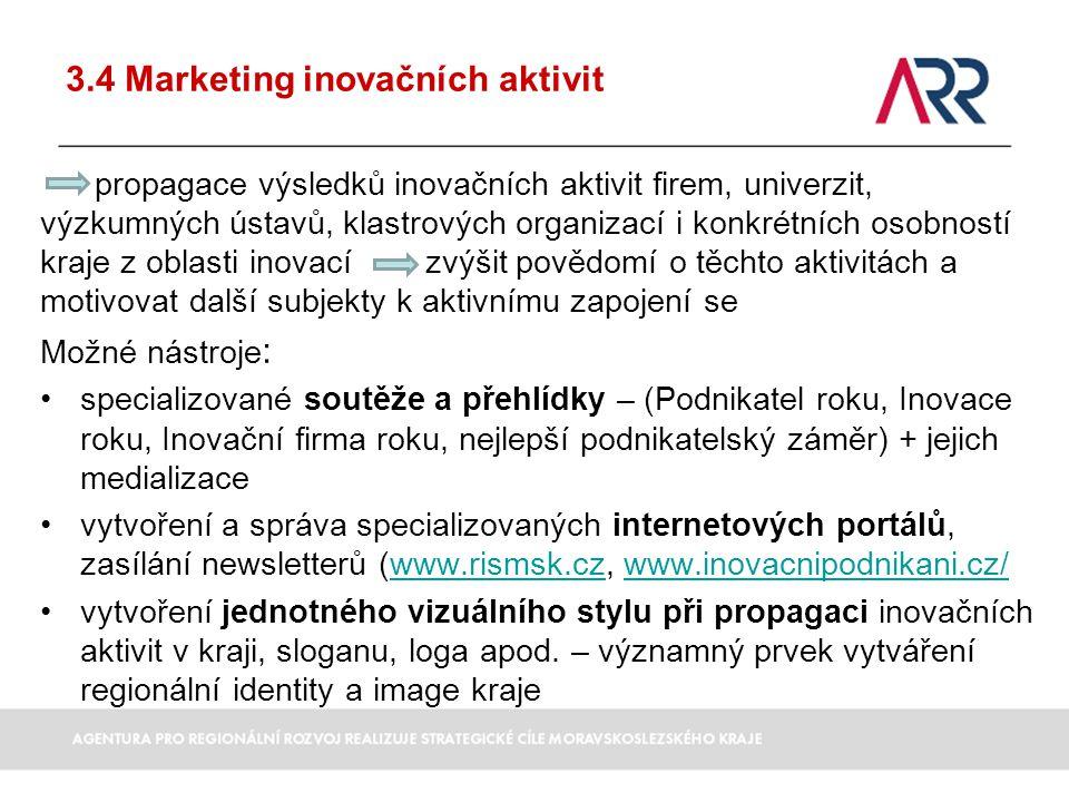 3.4 Marketing inovačních aktivit propagace výsledků inovačních aktivit firem, univerzit, výzkumných ústavů, klastrových organizací i konkrétních osobn