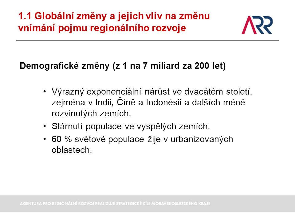 1.1 Globální změny a jejich vliv na změnu vnímání pojmu regionálního rozvoje Demografické změny (z 1 na 7 miliard za 200 let) Výrazný exponenciální ná