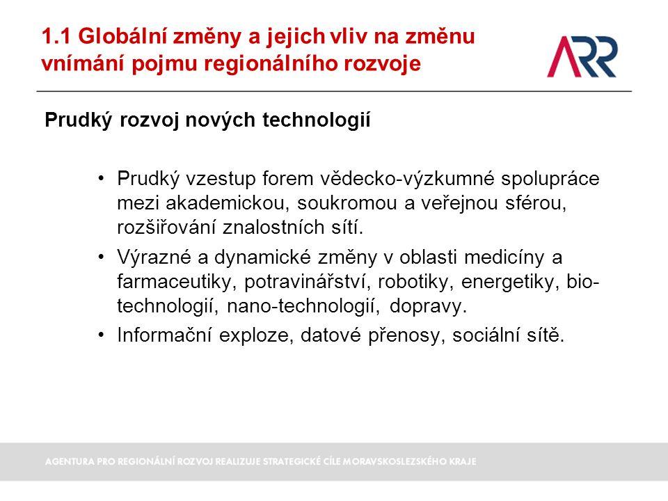 1.1 Globální změny a jejich vliv na změnu vnímání pojmu regionálního rozvoje Prudký rozvoj nových technologií Prudký vzestup forem vědecko-výzkumné sp