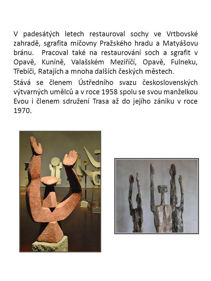 V padesátých letech restauroval sochy ve Vrtbovské zahradě, sgrafita míčovny Pražského hradu a Matyášovu bránu.