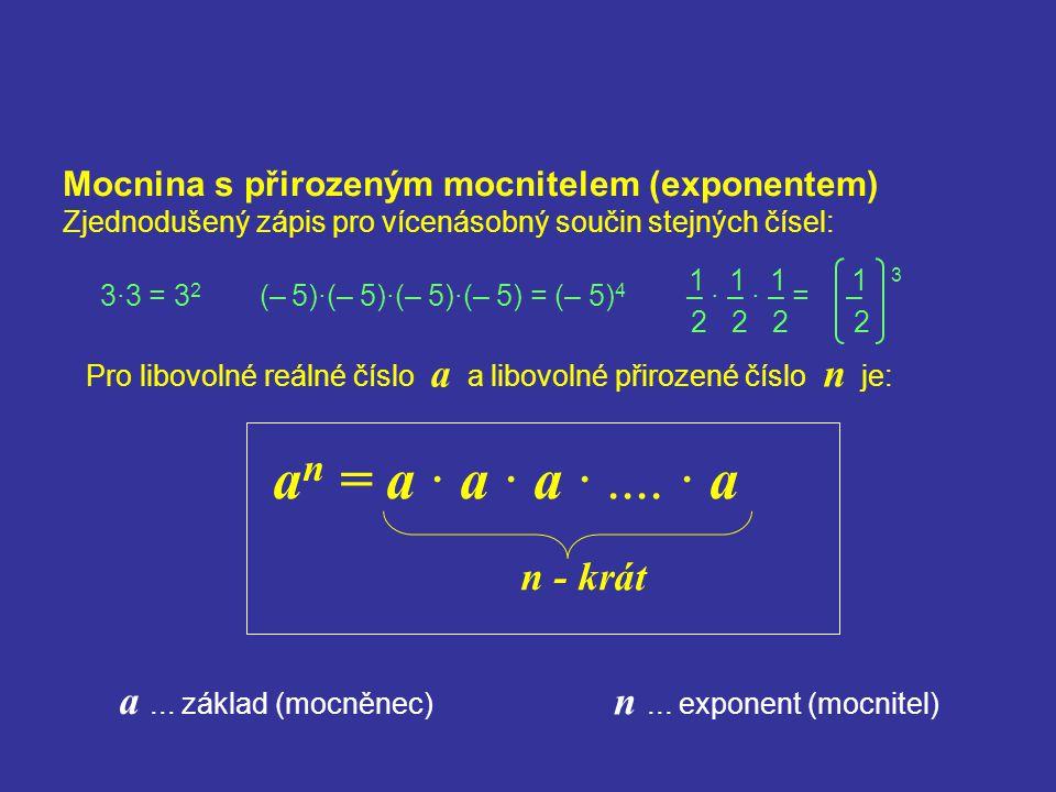 Mocnina s přirozeným mocnitelem (exponentem) Zjednodušený zápis pro vícenásobný součin stejných čísel: Pro libovolné reálné číslo a a libovolné přiroz