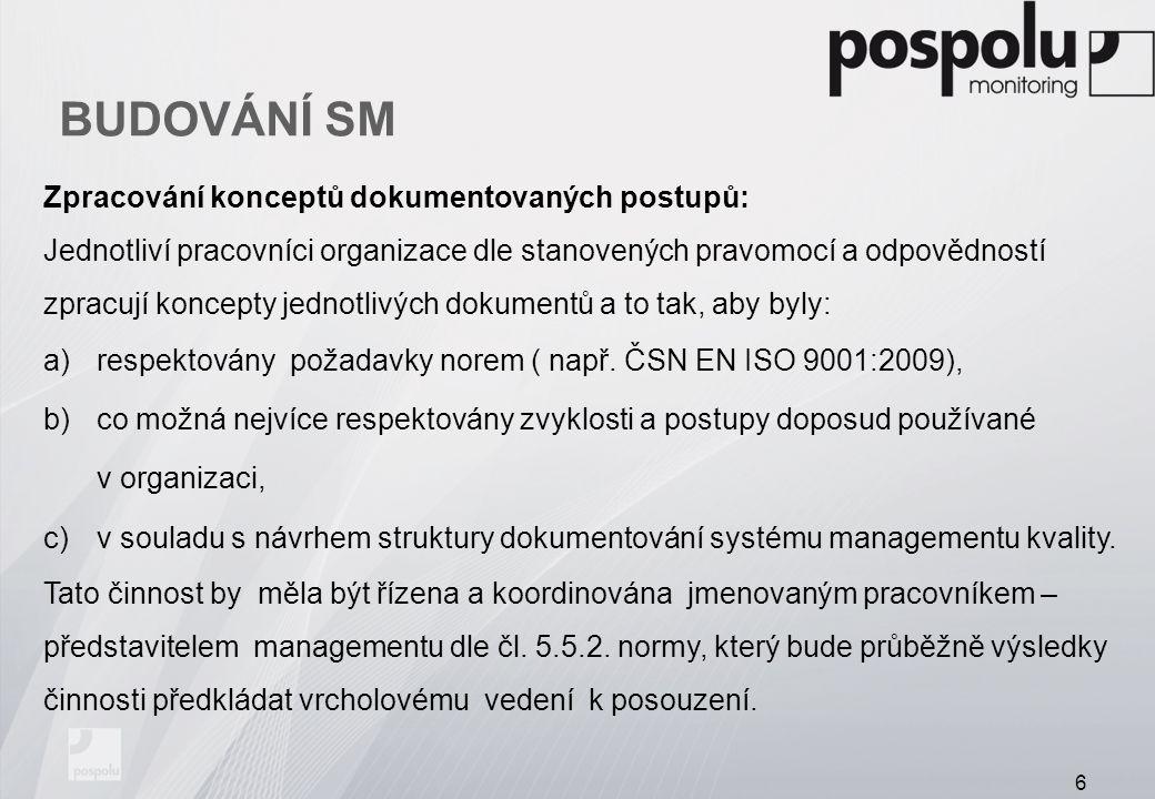 BUDOVÁNÍ SM Zpracování konceptů dokumentovaných postupů: Jednotliví pracovníci organizace dle stanovených pravomocí a odpovědností zpracují koncepty j