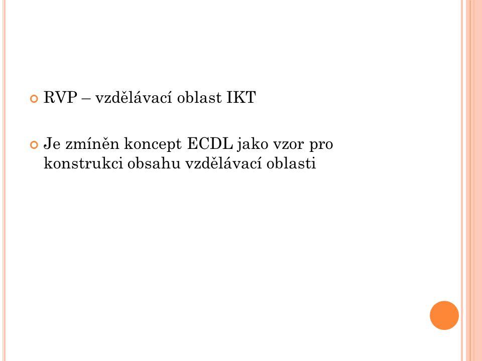 RVP – vzdělávací oblast IKT Je zmíněn koncept ECDL jako vzor pro konstrukci obsahu vzdělávací oblasti