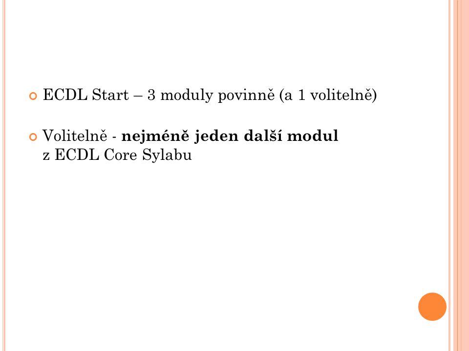 ECDL Start – 3 moduly povinně (a 1 volitelně) Volitelně - nejméně jeden další modul z ECDL Core Sylabu