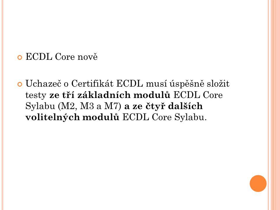 ECDL Core nově Uchazeč o Certifikát ECDL musí úspěšně složit testy ze tří základních modulů ECDL Core Sylabu (M2, M3 a M7) a ze čtyř dalších volitelných modulů ECDL Core Sylabu.