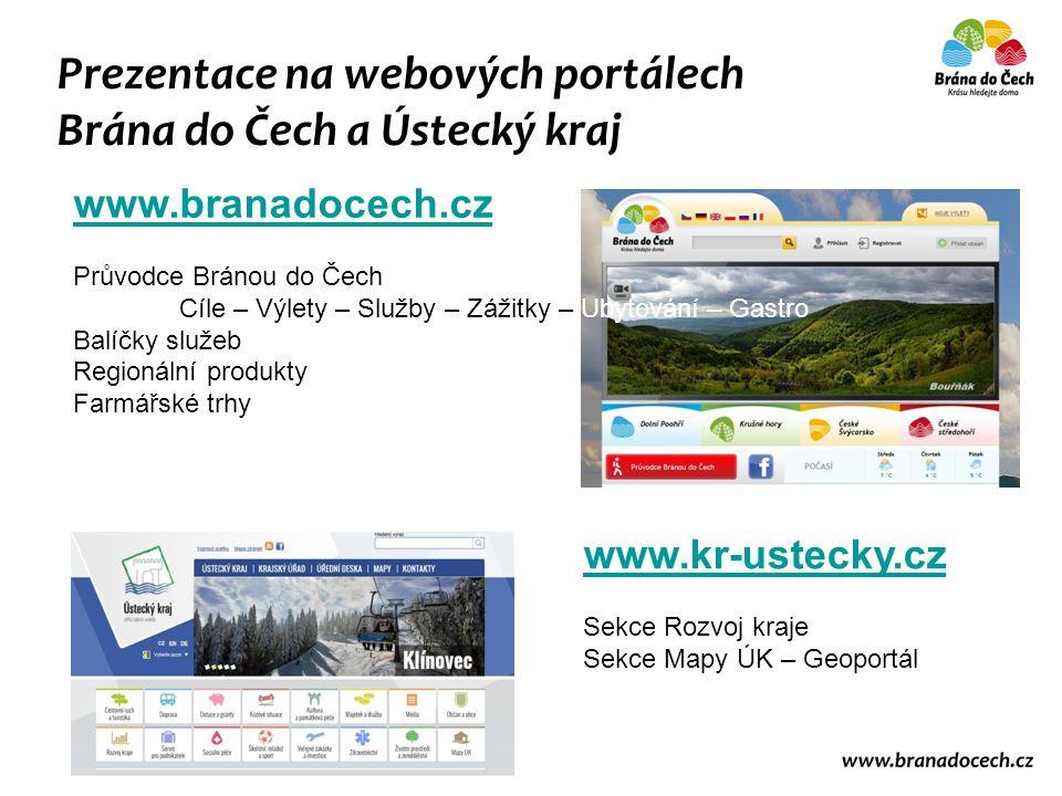 Prezentace na webových portálech Brána do Čech a Ústecký kraj www.branadocech.cz Průvodce Bránou do Čech Cíle – Výlety – Služby – Zážitky – Ubytování