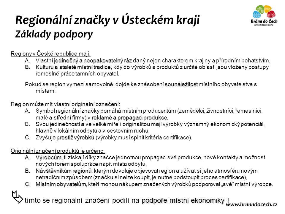Regionální značky v Ústeckém kraji Základy podpory Regiony v České republice mají: jedinečný a neopakovatelný ráz A.Vlastní jedinečný a neopakovatelný