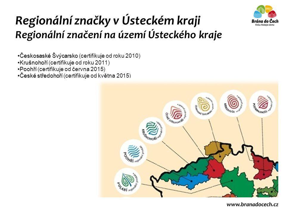 Regionální značky v Ústeckém kraji Regionální značení na území Ústeckého kraje Českosaské ŠvýcarskoČeskosaské Švýcarsko (certifikuje od roku 2010) Kru