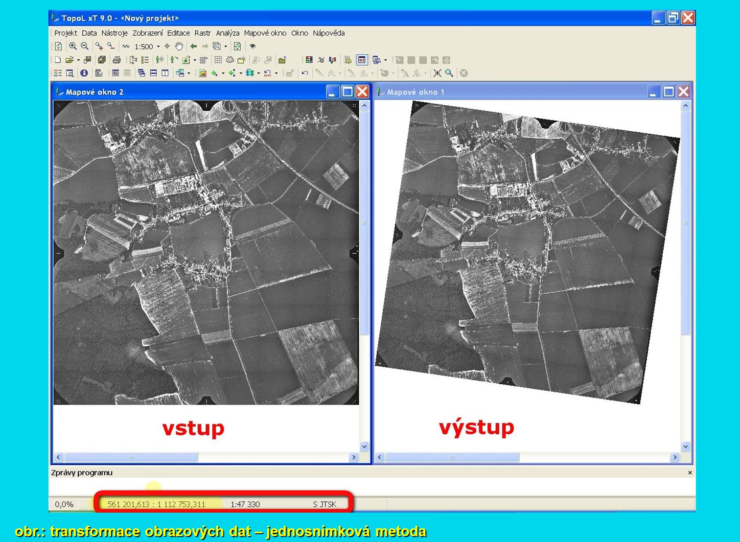 obr.: transformace obrazových dat – jednosnímková metoda