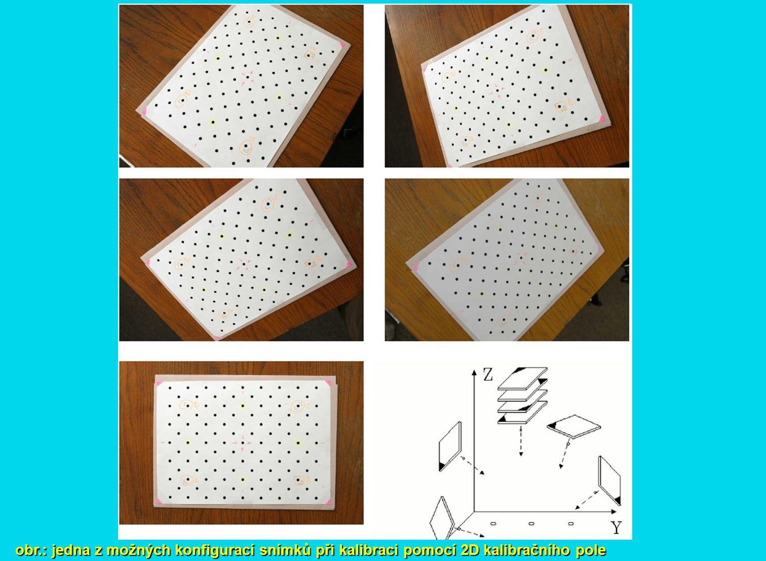 obr.: jedna z možných konfigurací snímků při kalibraci pomocí 2D kalibračního pole