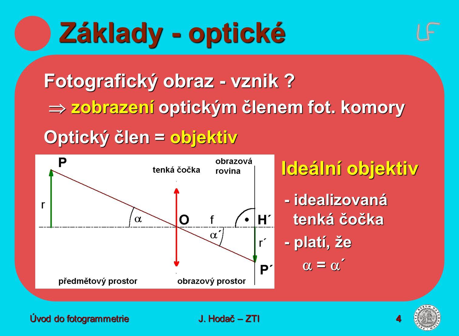 Úvod do fotogrammetrie4 Základy - optické Fotografický obraz - vznik ?  zobrazení optickým členem fot. komory  zobrazení optickým členem fot. komory