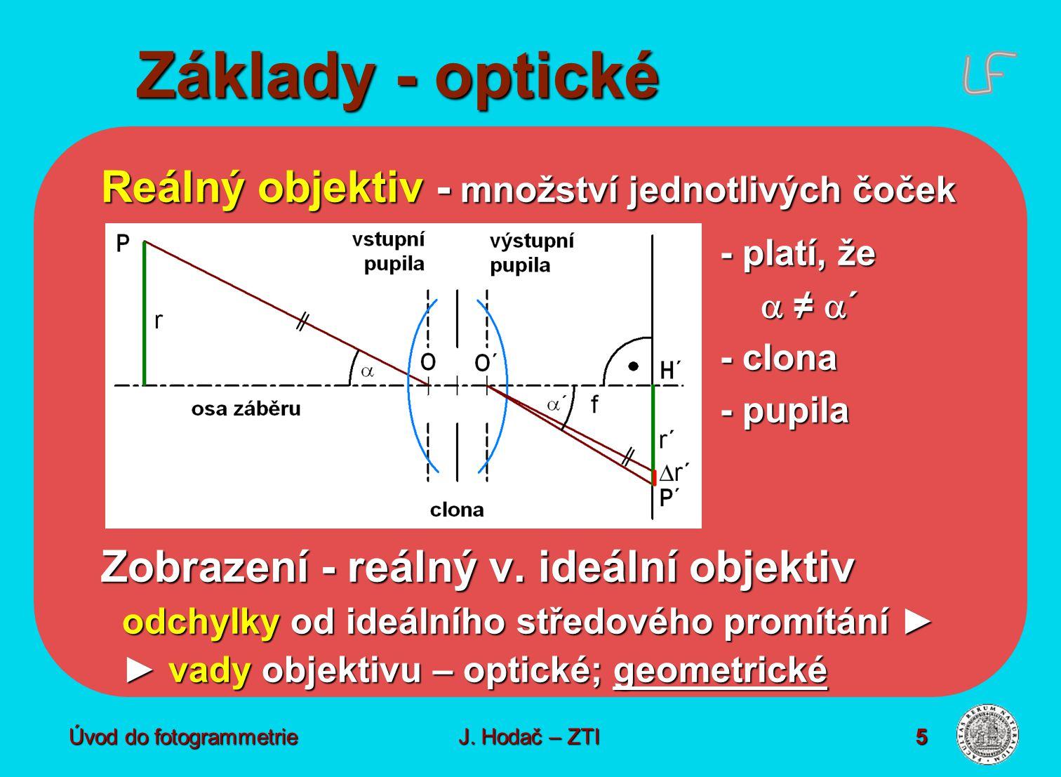 Úvod do fotogrammetrie5 Základy - optické Reálný objektiv - množství jednotlivých čoček - platí, že  ≠  ´ - clona - pupila Zobrazení - reálný v. ide