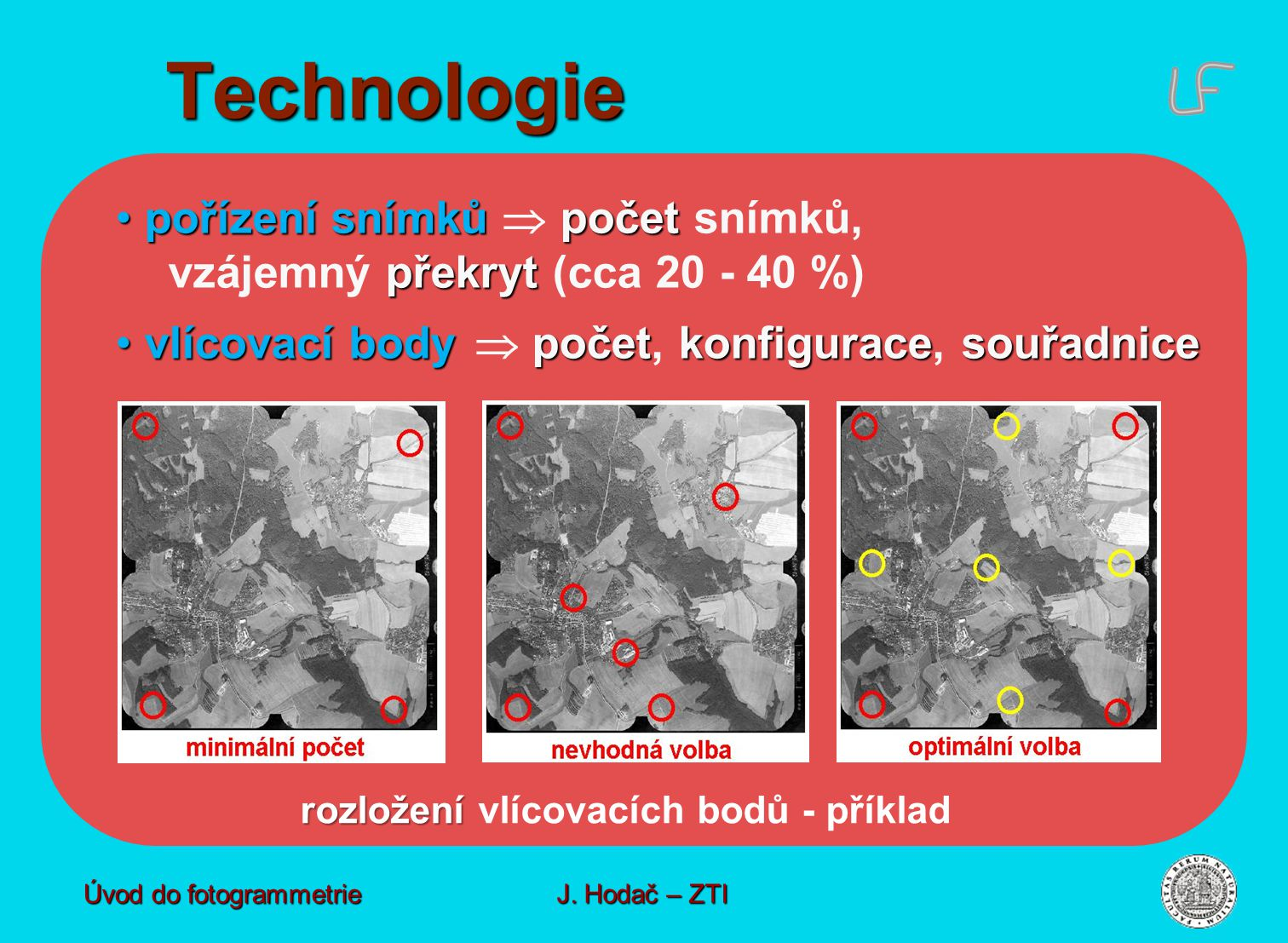 pořízení snímků počet překryt pořízení snímků  počet snímků, vzájemný překryt (cca 20 - 40 %) vlícovací body početkonfiguracesouřadnice vlícovací body  počet, konfigurace, souřadnice rozložení rozložení vlícovacích bodů - příklad Technologie Úvod do fotogrammetrie J.
