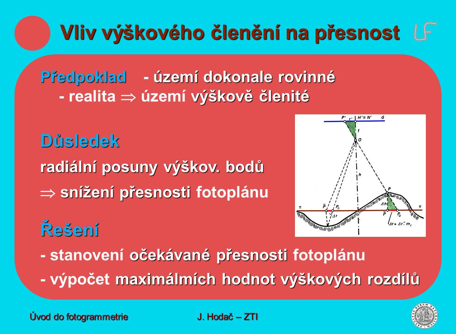 Předpokladúzemí dokonale rovinné výškově členité Předpoklad - území dokonale rovinné - realita  území výškově členité Řešení očekávané přesnosti - st