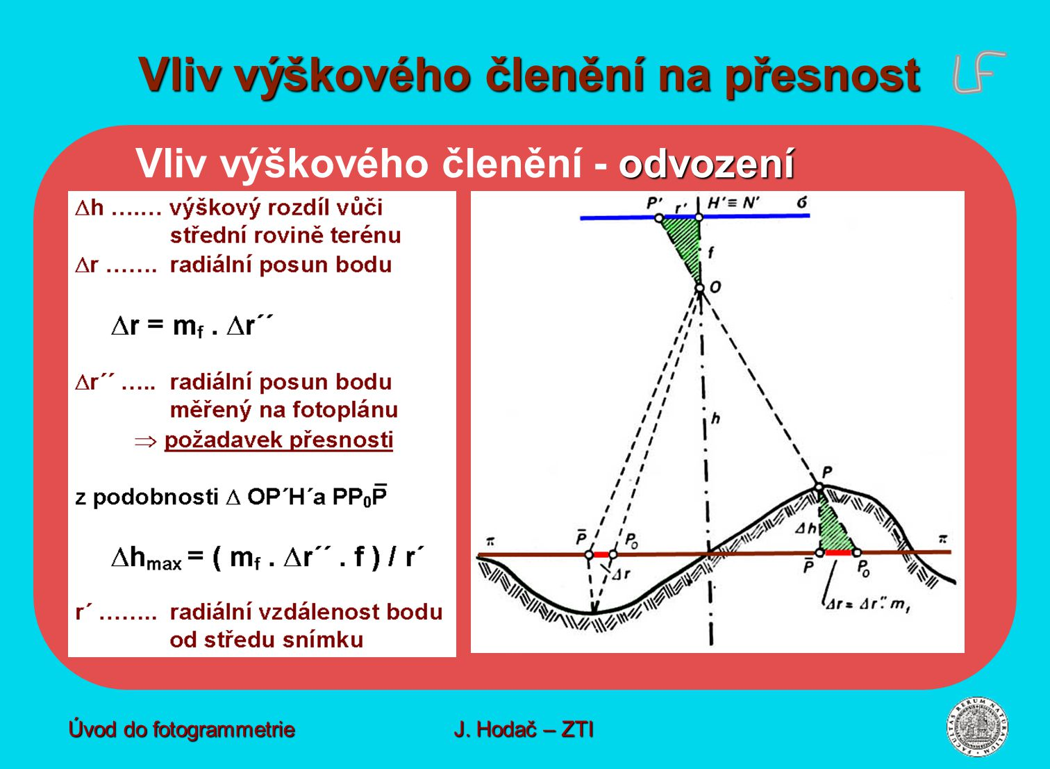 odvození Vliv výškového členění - odvození Vliv výškového členění na přesnost Úvod do fotogrammetrie J. Hodač – ZTI