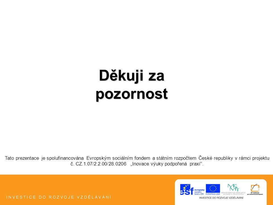 """Tato prezentace je spolufinancována Evropským sociálním fondem a státním rozpočtem České republiky v rámci projektu č. CZ.1.07/2.2.00/28.0206 """"Inovace"""