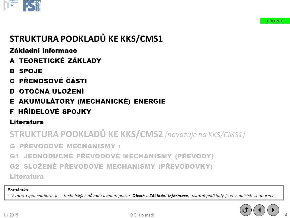 STRUKTURA PODKLADŮ KE KKS/CMS1 Základní informace A TEORETICKÉ ZÁKLADY B SPOJE C PŘENOSOVÉ ČÁSTI D OTOČNÁ ULOŽENÍ E AKUMULÁTORY (MECHANICKÉ) ENERGIE F