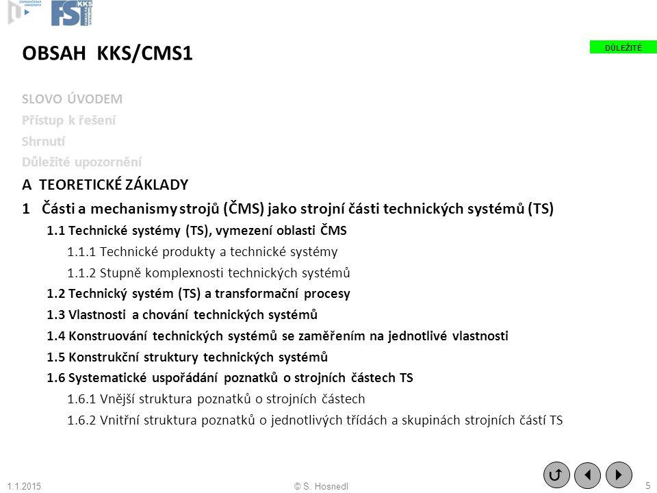 OBSAH KKS/CMS1 SLOVO ÚVODEM Přístup k řešení Shrnutí Důležité upozornění A TEORETICKÉ ZÁKLADY 1 Části a mechanismy strojů (ČMS) jako strojní části tec