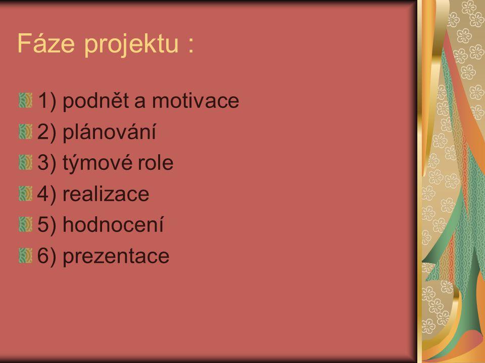 Fáze projektu : 1) podnět a motivace 2) plánování 3) týmové role 4) realizace 5) hodnocení 6) prezentace