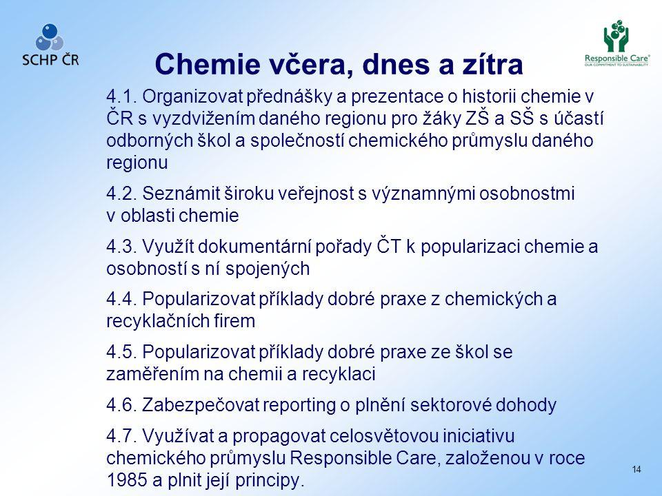Chemie včera, dnes a zítra 4.1. Organizovat přednášky a prezentace o historii chemie v ČR s vyzdvižením daného regionu pro žáky ZŠ a SŠ s účastí odbor