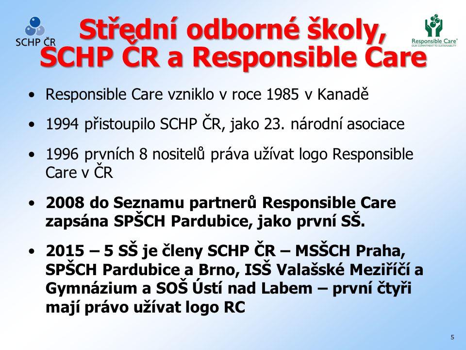 5 Střední odborné školy, SCHP ČR a Responsible Care Responsible Care vzniklo v roce 1985 v Kanadě 1994 přistoupilo SCHP ČR, jako 23.