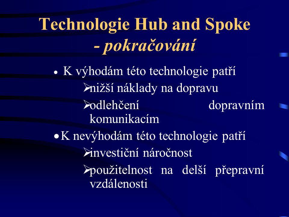 Technologie Hub and Spoke - pokračování  K výhodám této technologie patří  nižší náklady na dopravu  odlehčení dopravním komunikacím  K nevýhodám