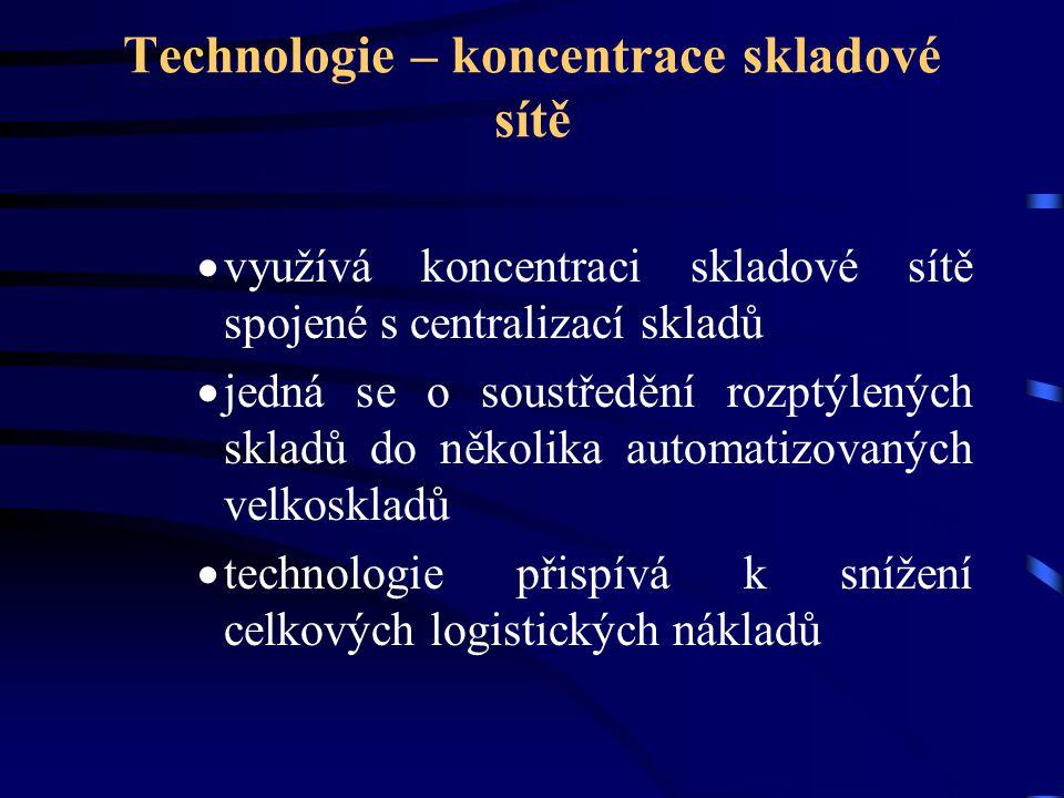Technologie – koncentrace skladové sítě  využívá koncentraci skladové sítě spojené s centralizací skladů  jedná se o soustředění rozptýlených skladů