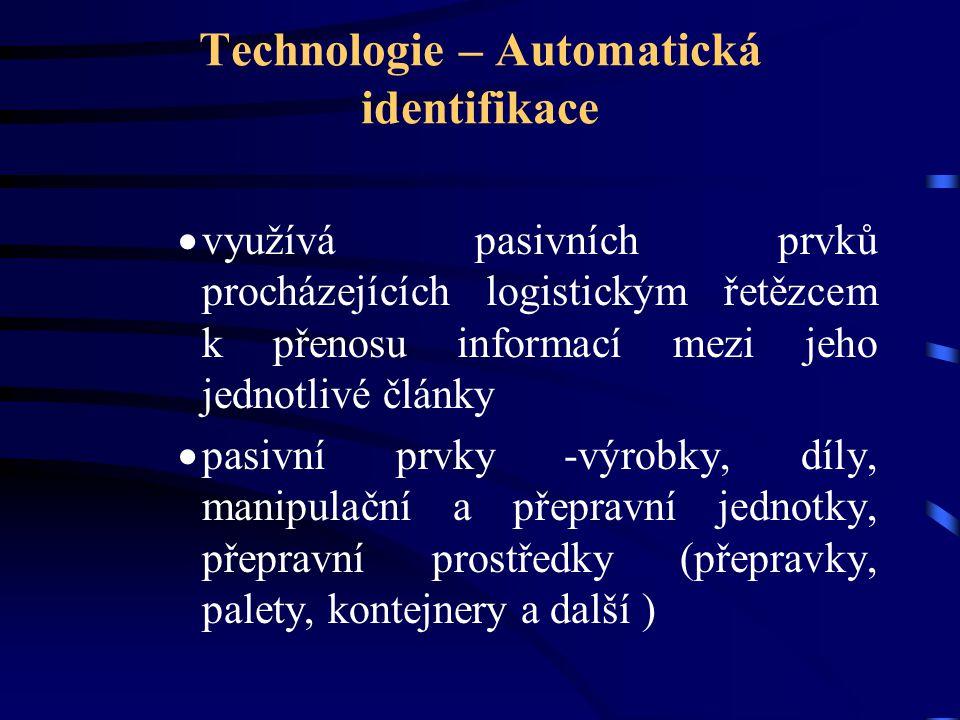 Technologie – Automatická identifikace  využívá pasivních prvků procházejících logistickým řetězcem k přenosu informací mezi jeho jednotlivé články 