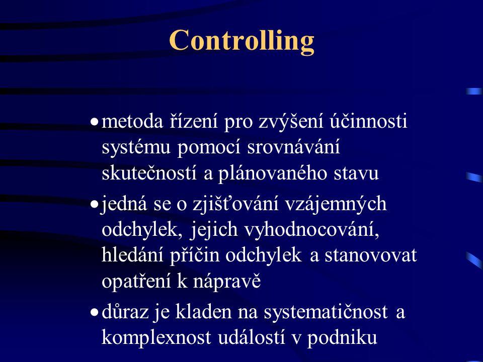 Controlling  metoda řízení pro zvýšení účinnosti systému pomocí srovnávání skutečností a plánovaného stavu  jedná se o zjišťování vzájemných odchyle