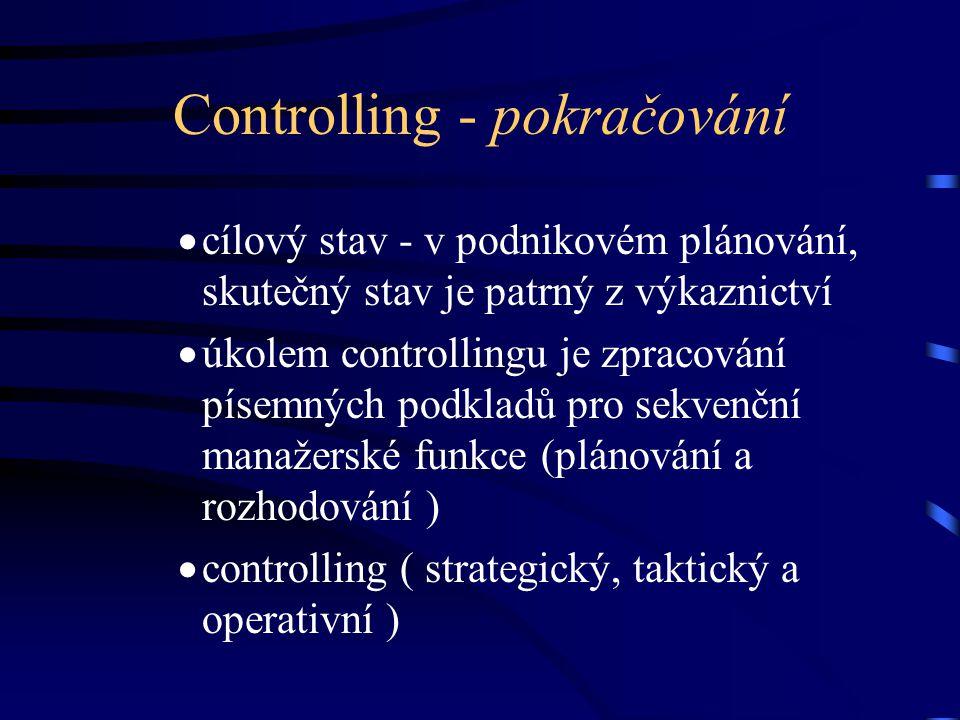 Controlling - pokračování  cílový stav - v podnikovém plánování, skutečný stav je patrný z výkaznictví  úkolem controllingu je zpracování písemných