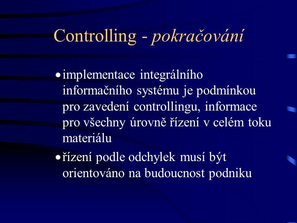 Controlling - pokračování  implementace integrálního informačního systému je podmínkou pro zavedení controllingu, informace pro všechny úrovně řízení