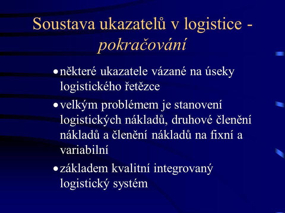 Soustava ukazatelů v logistice - pokračování  některé ukazatele vázané na úseky logistického řetězce  velkým problémem je stanovení logistických nák