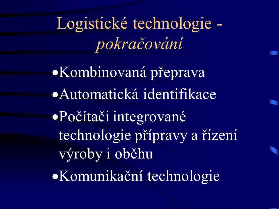 Logistické technologie - pokračování  Kombinovaná přeprava  Automatická identifikace  Počítači integrované technologie přípravy a řízení výroby i o