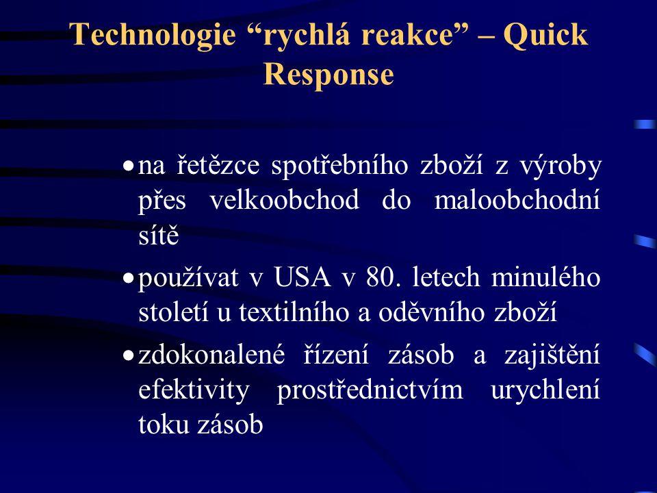 """Technologie """"rychlá reakce"""" – Quick Response  na řetězce spotřebního zboží z výroby přes velkoobchod do maloobchodní sítě  používat v USA v 80. lete"""