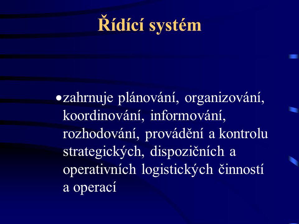 Řídící systém  zahrnuje plánování, organizování, koordinování, informování, rozhodování, provádění a kontrolu strategických, dispozičních a operativn