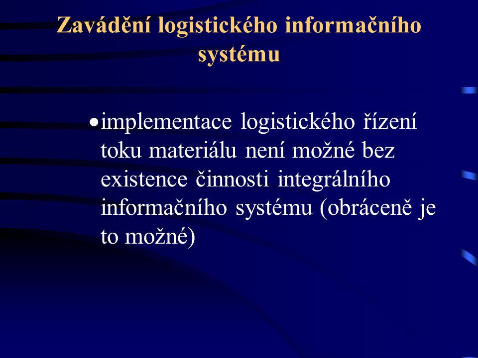Zavádění logistického informačního systému  implementace logistického řízení toku materiálu není možné bez existence činnosti integrálního informační
