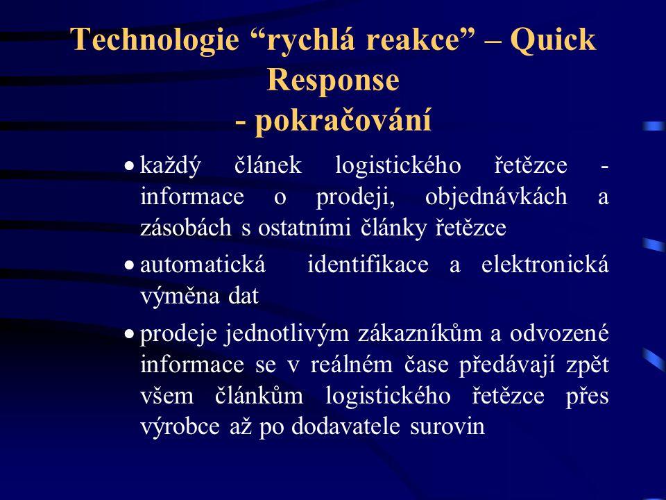"""Technologie """"rychlá reakce"""" – Quick Response - pokračování  každý článek logistického řetězce - informace o prodeji, objednávkách a zásobách s ostatn"""