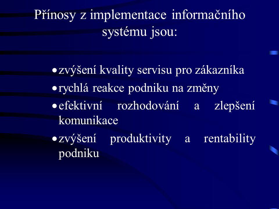 Přínosy z implementace informačního systému jsou:  zvýšení kvality servisu pro zákazníka  rychlá reakce podniku na změny  efektivní rozhodování a z