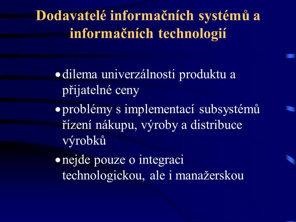 Dodavatelé informačních systémů a informačních technologií  dilema univerzálnosti produktu a přijatelné ceny  problémy s implementací subsystémů říz