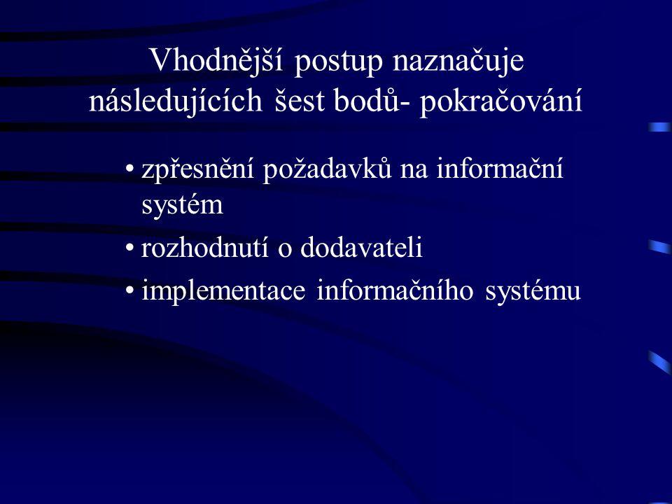 Vhodnější postup naznačuje následujících šest bodů- pokračování zpřesnění požadavků na informační systém rozhodnutí o dodavateli implementace informač