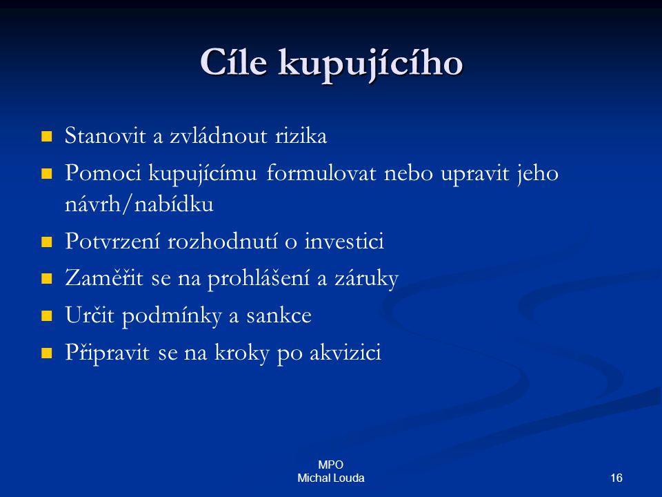 16 MPO Michal Louda Cíle kupujícího Stanovit a zvládnout rizika Pomoci kupujícímu formulovat nebo upravit jeho návrh/nabídku Potvrzení rozhodnutí o in