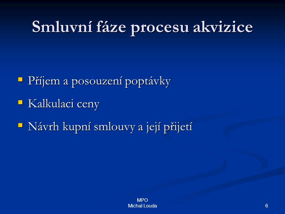 6 MPO Michal Louda Smluvní fáze procesu akvizice  Příjem a posouzení poptávky  Kalkulaci ceny  Návrh kupní smlouvy a její přijetí