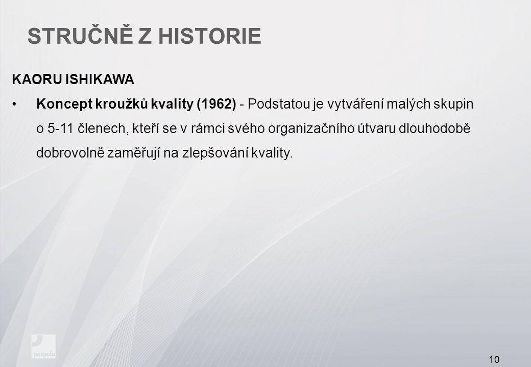 STRUČNĚ Z HISTORIE KAORU ISHIKAWA Koncept kroužků kvality (1962) - Podstatou je vytváření malých skupin o 5-11 členech, kteří se v rámci svého organizačního útvaru dlouhodobě dobrovolně zaměřují na zlepšování kvality.