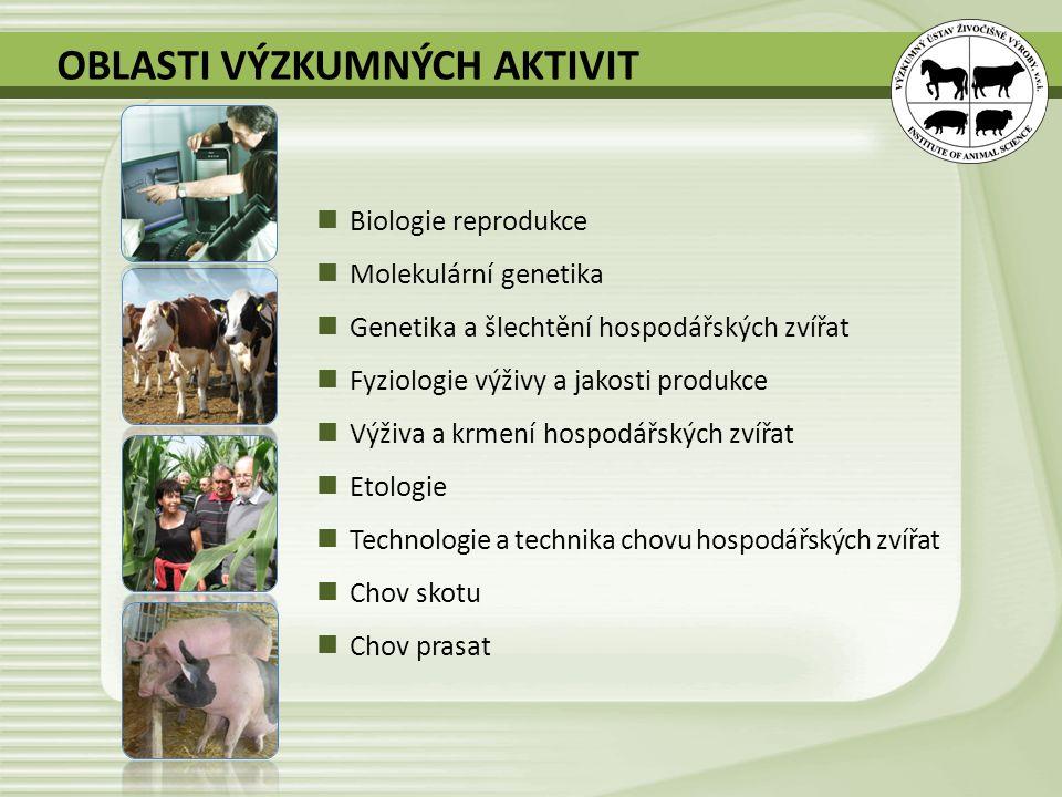 OBLASTI VÝZKUMNÝCH AKTIVIT Biologie reprodukce Molekulární genetika Genetika a šlechtění hospodářských zvířat Fyziologie výživy a jakosti produkce Výž