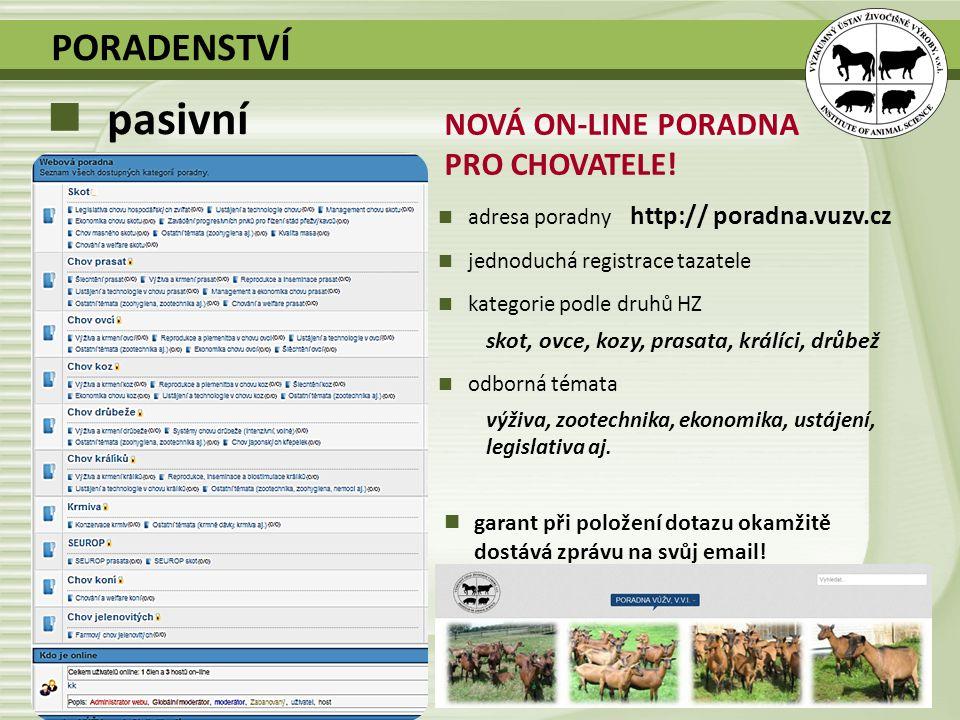 NOVÁ ON-LINE PORADNA PRO CHOVATELE! adresa poradny http:// poradna.vuzv.cz jednoduchá registrace tazatele kategorie podle druhů HZ skot, ovce, kozy, p